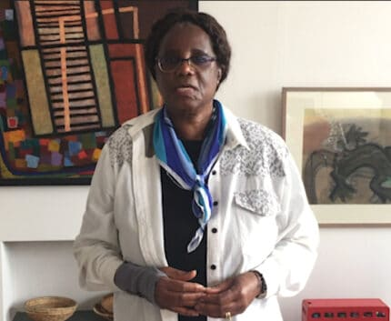 A portrait of Dr Shimwaayi Muntemba, ZOA founder and vice-chair of ZOA-UK trustees, to accompany her biography
