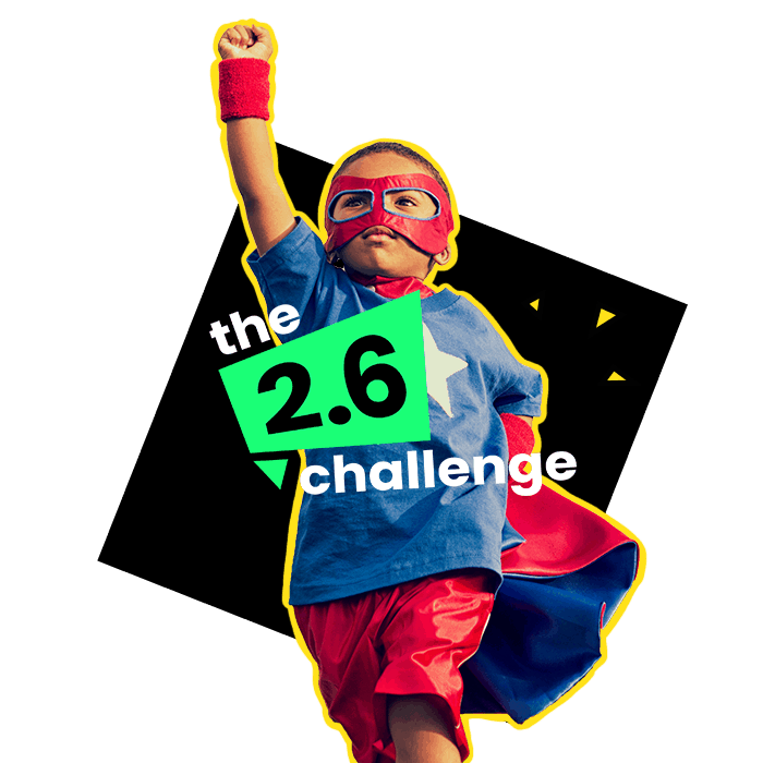 Image of a super hero to illustrate the 2.6 fundraising challenge