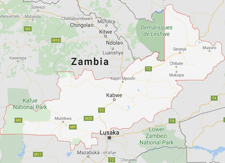 A map showing Central Province in Zambia