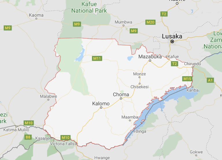 A map showing Southern Province in Zambia